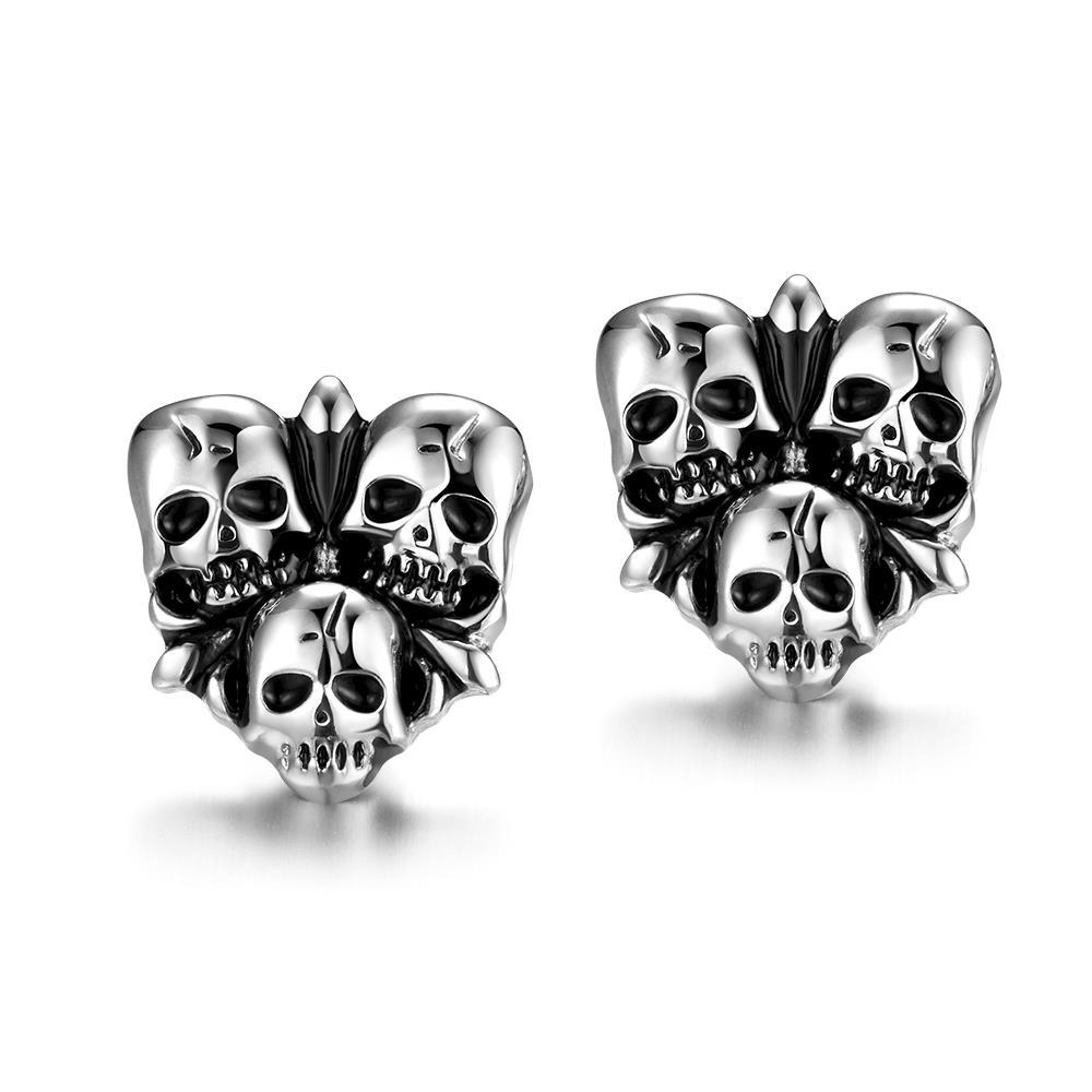 Trio Skulls Stainless Steel Earrings
