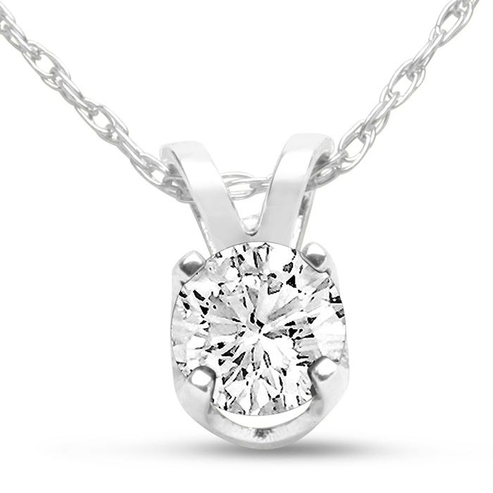 14k White Gold 1 3 Carat Genuine Diamond Solitaire Necklace