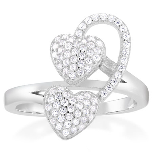 Silver Swarovski Elements Ring - Double Hearts