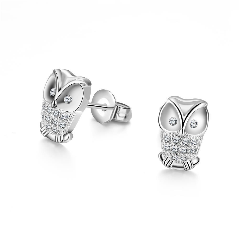 5e11fe118 White Gold Plated Owl Stud Earrings - BelleChic