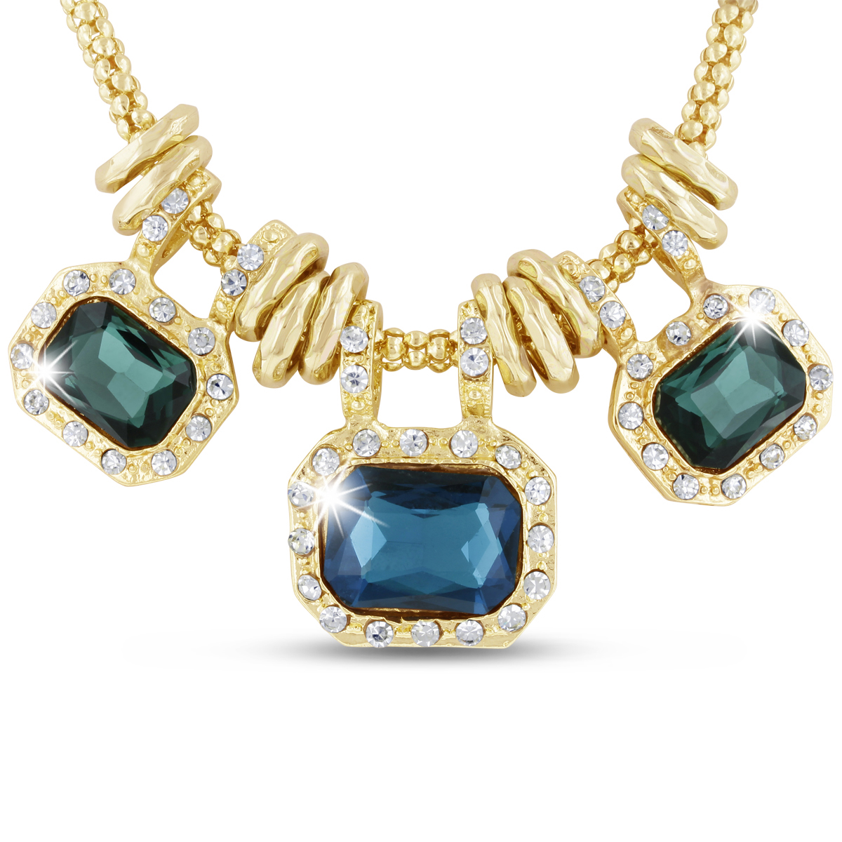 18 Karat Gold Plated Emerald and Blue Sapphire Glass And Crystal State