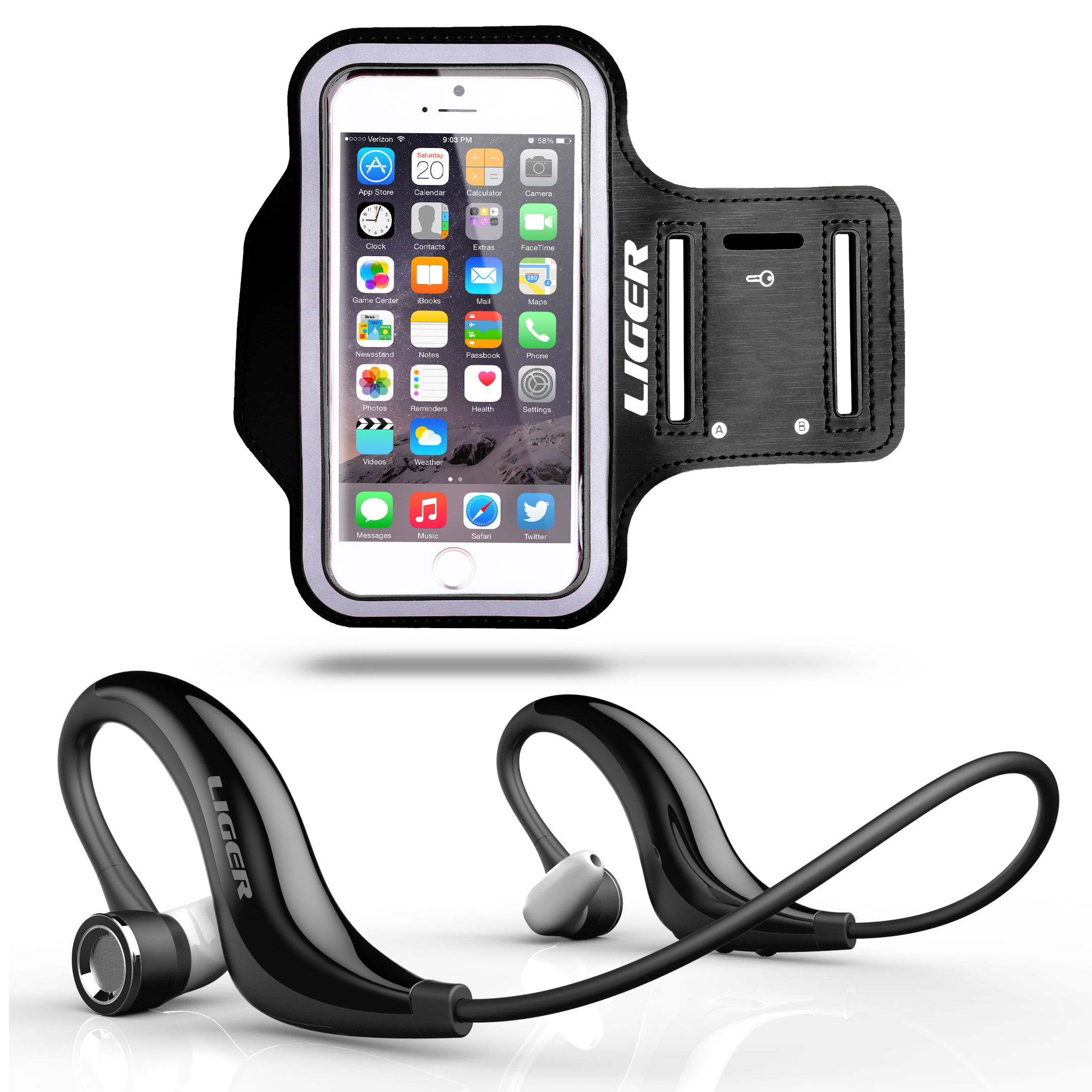 XS300 Bluetooth Headphones   Sweat Proof Armband