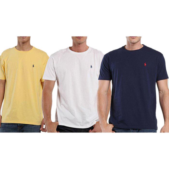 60e4bcca 3 Pack: Polo by Ralph Lauren Mens Pony Logo Classic Fit T-Shirts - Tanga