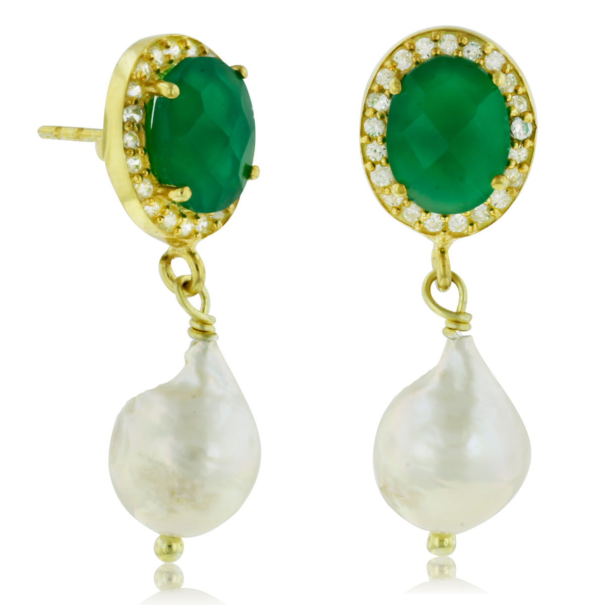 6 Carat Green Onyx and Pearl Halo Dangle Earrings, Sterling Silver wit