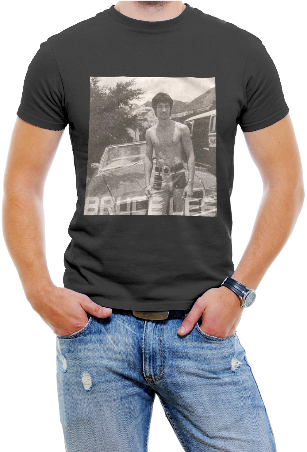 Classc Bruce Lee Black White Men T-Shirt