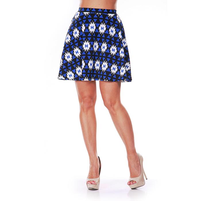 Blue  amp  Black Diamond Print Skater Skirt