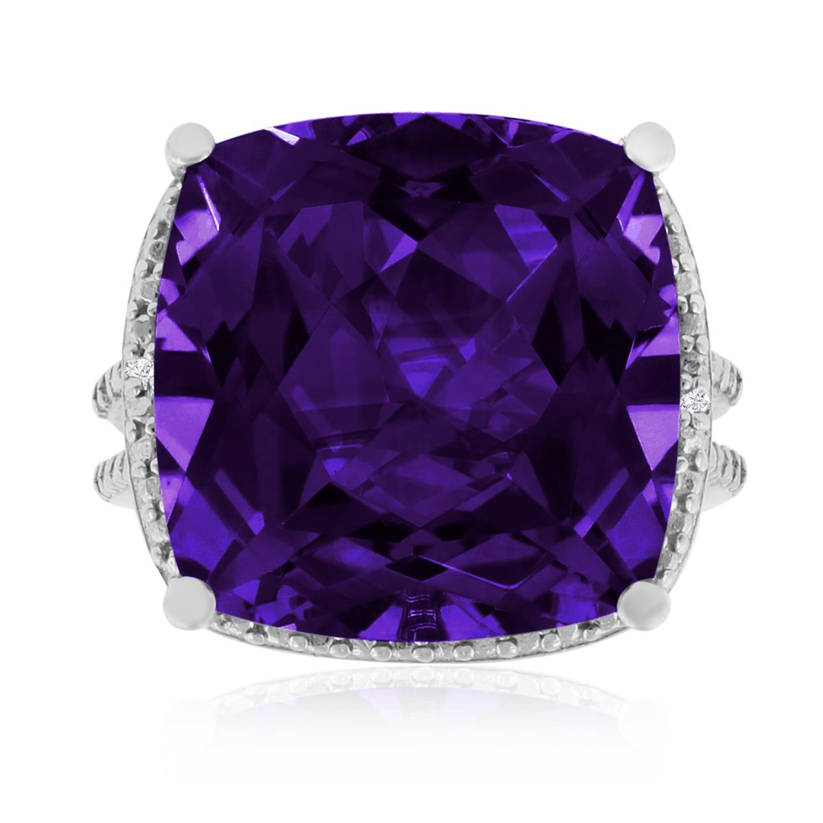 12ct Split Shank Amethyst Amp Diamond Ring Tanga