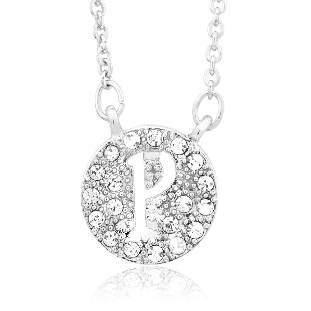 18kt White Gold Plated Swarovski Elements Initial Necklace - P