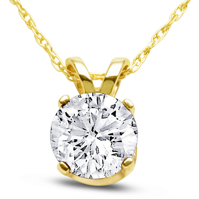 14k Yellow Gold 3 4 Carat Genuine Diamond Solitaire Necklace