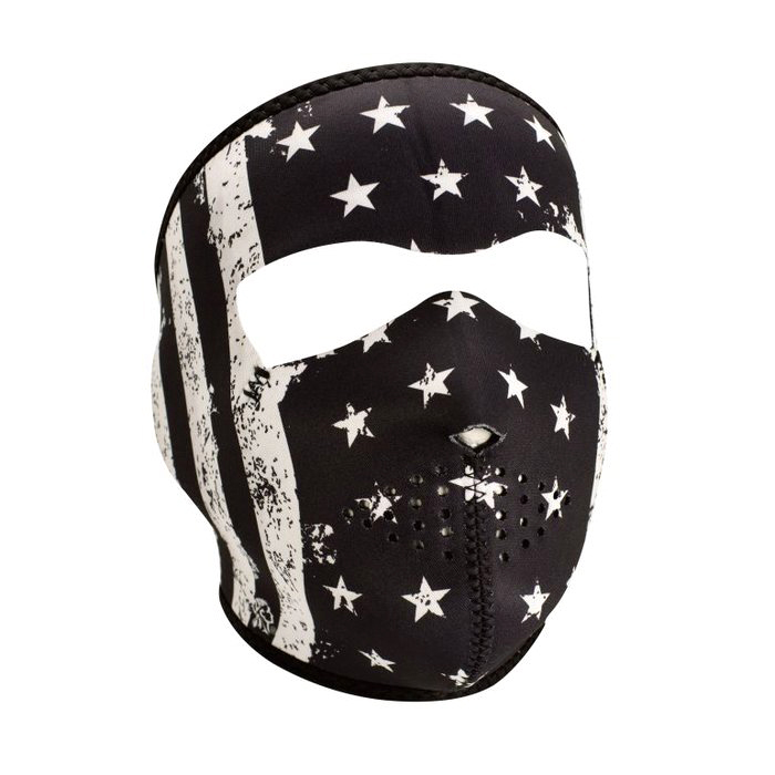 Neoprene Full Face Mask - Black White Vintage Flag 5237