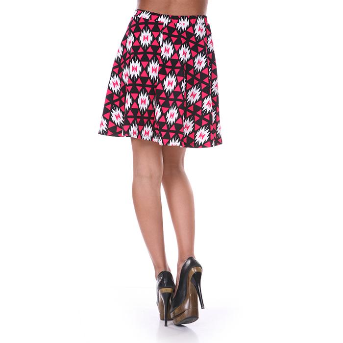 Fuchsia  amp  Black Diamond Print Skater Skirt