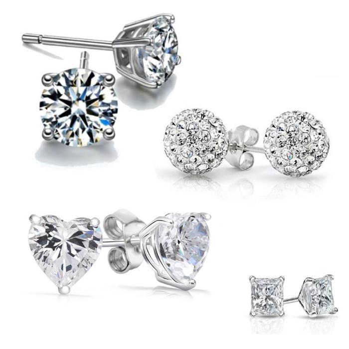 4 Pack  Austrian Crystal Sterling Silver Earrings