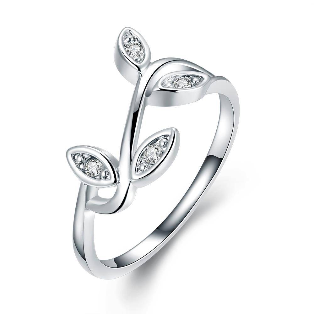 White Gold Plated Olive Tree Branch Ring