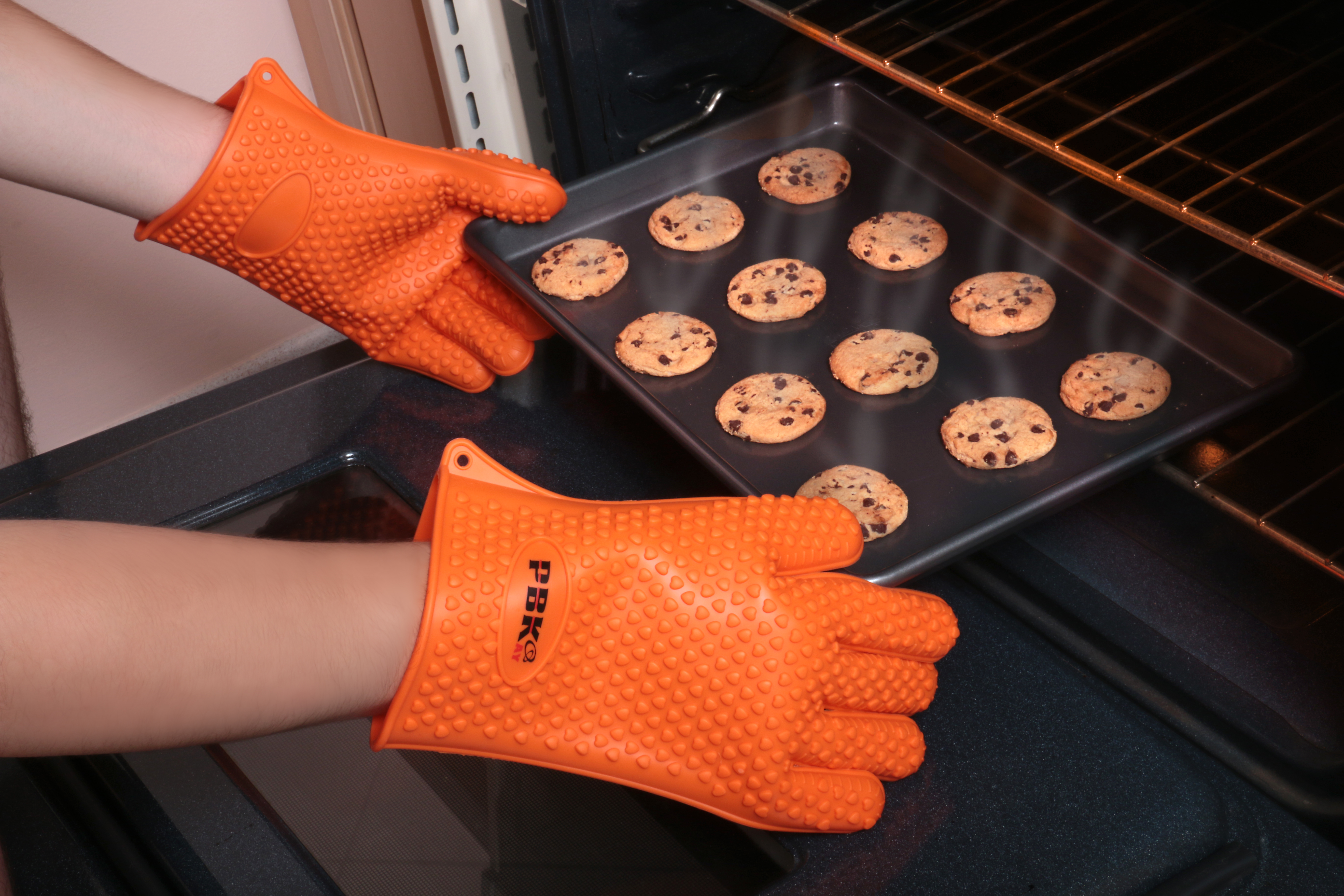 Heat Resistant Silicone BBQ Gloves Oven Mitts 14930