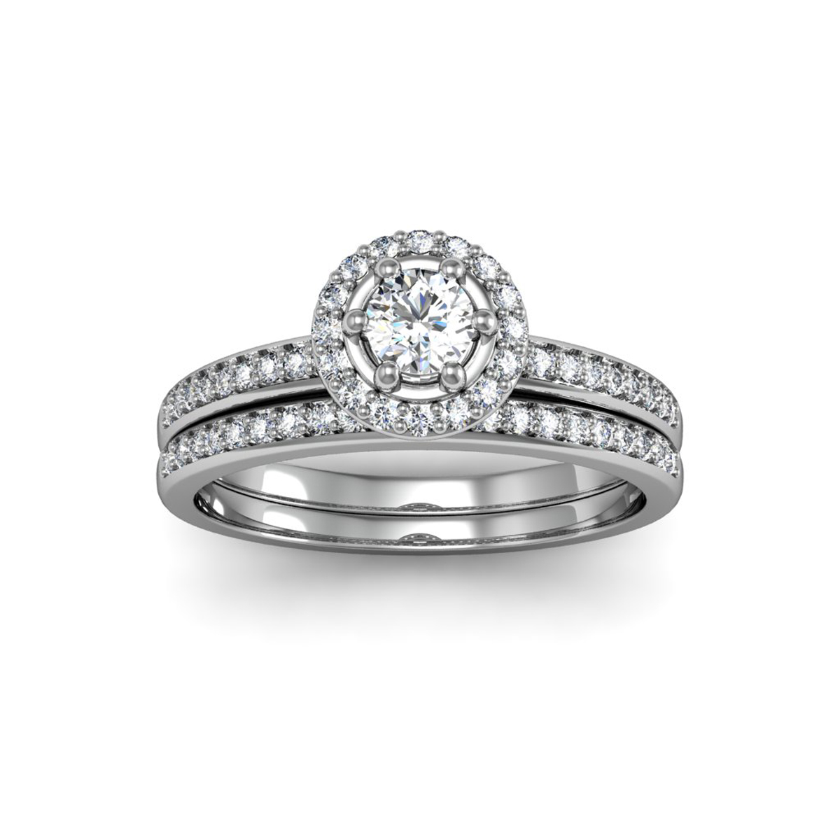 1 2ct Pave Diamond Bridal Set, Round Center