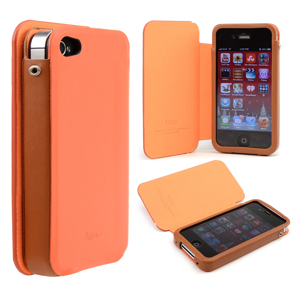 Orange  Brown iRoo Faux Leather Slide-In Case w  Diary Cover for Apple