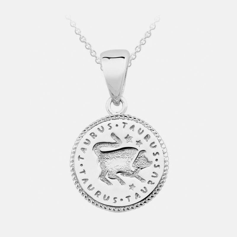 Inspired Sterling Silver Zodiac Pendant - Taurus