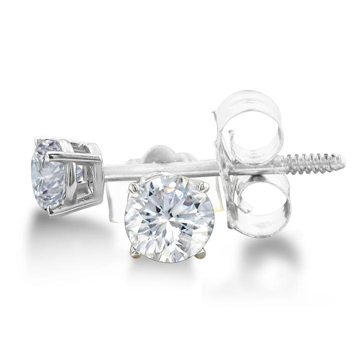 Certified 1 3ct Natural Genuine Diamond Stud Earrings In 14 Karat Whit