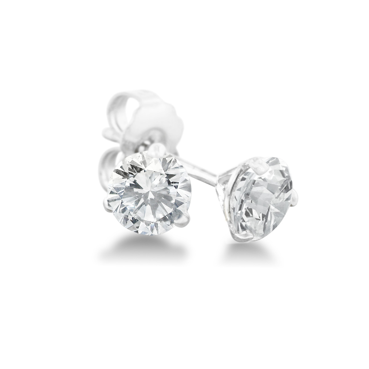 1 3ct Natural Genuine Diamond Stud Earrings In Martini Settling, 14 Ka