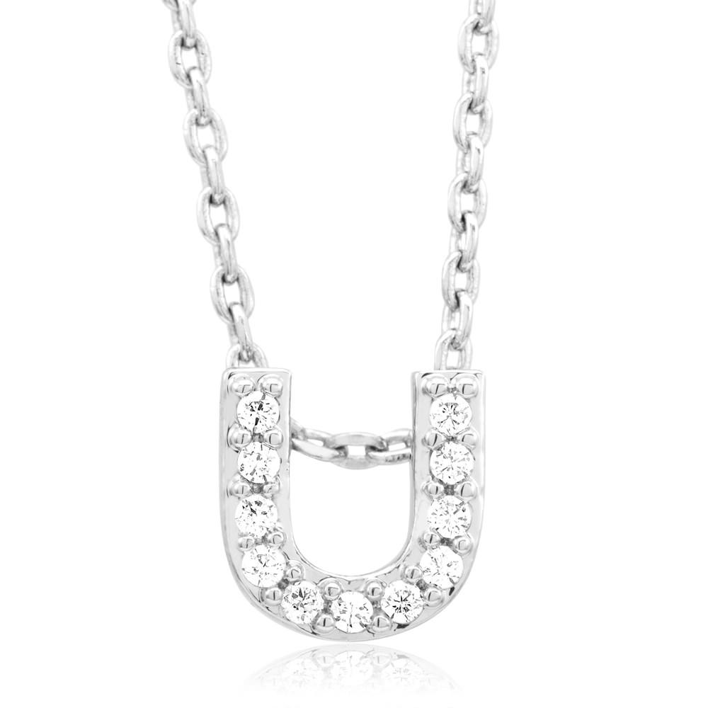 18kt White Gold Plated Swarovski Necklace - U