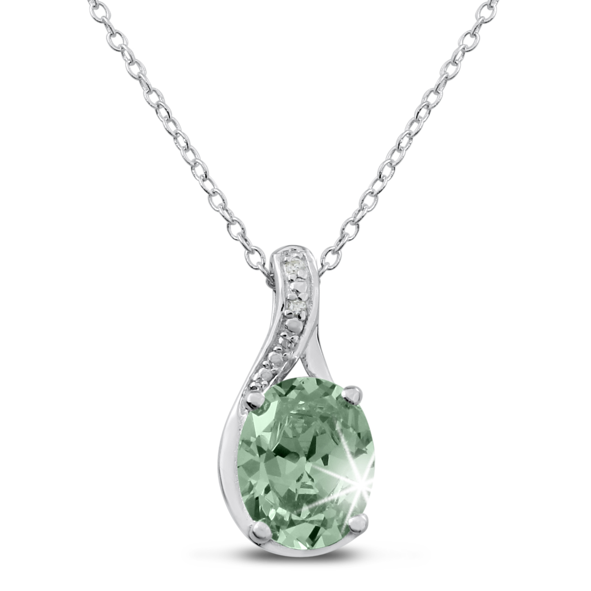 2 3 4ct Green Amethyst and Diamond Necklace In Sterling Silver