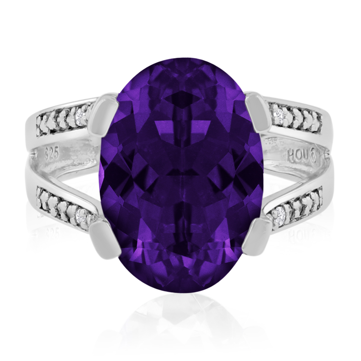 5 1 2ct Oval Shape Amethyst and Diamond Ring