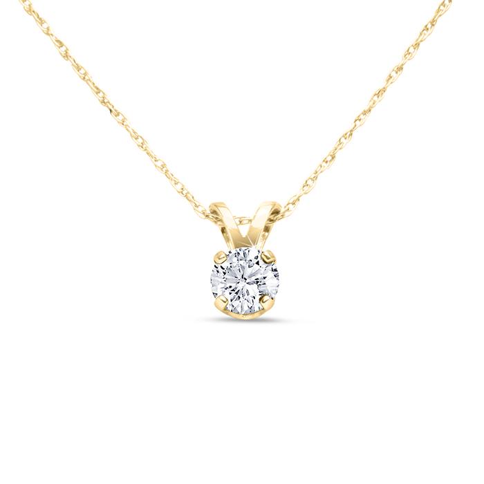 14k Yellow Gold 1 4 Carat Genuine Diamond Solitaire Necklace
