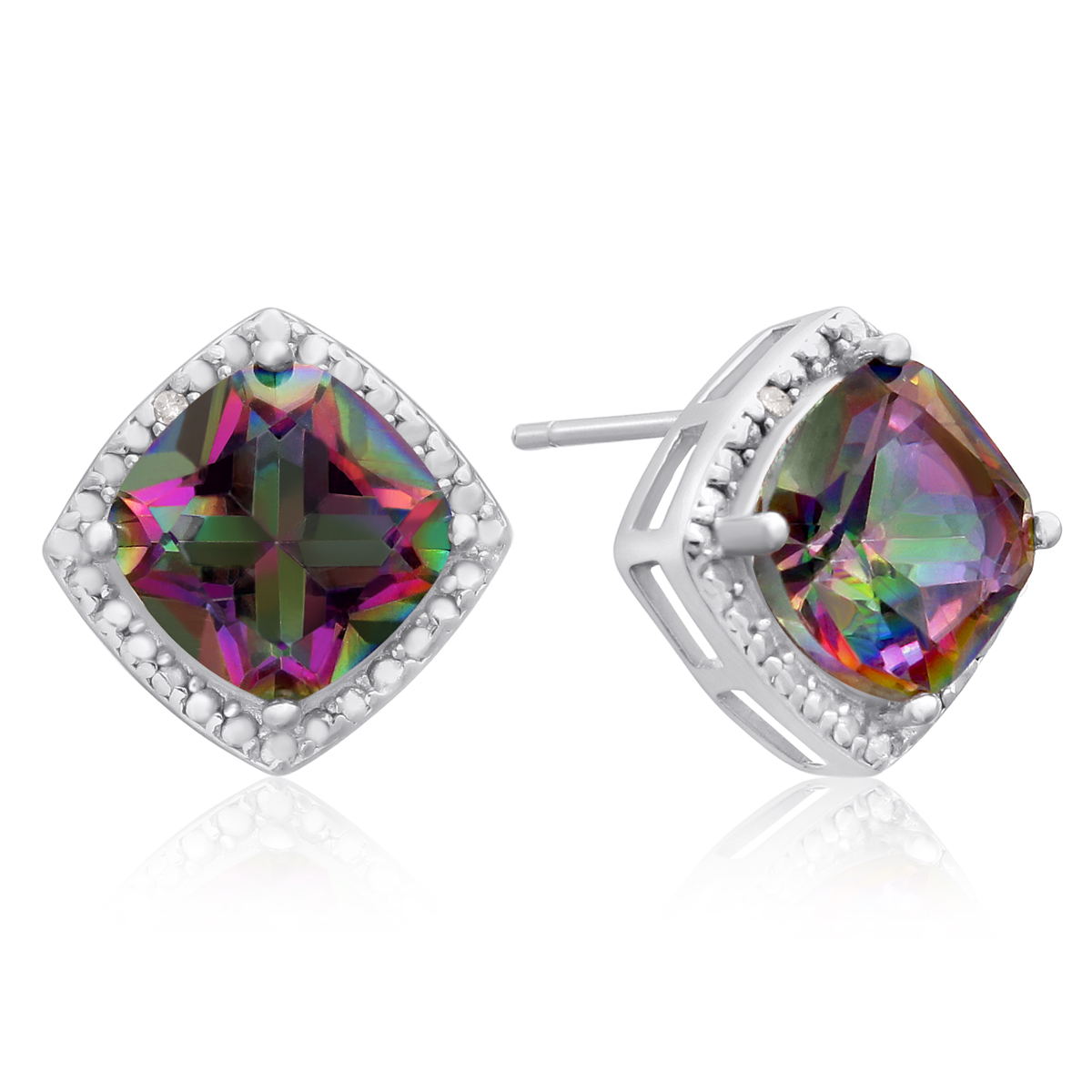 3 3 4 Ct Rainbow Amethyst and Diamond Earrings
