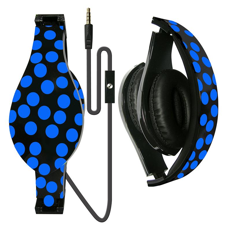 Printed Foldable DJ Style Headset w  Inline Mic
