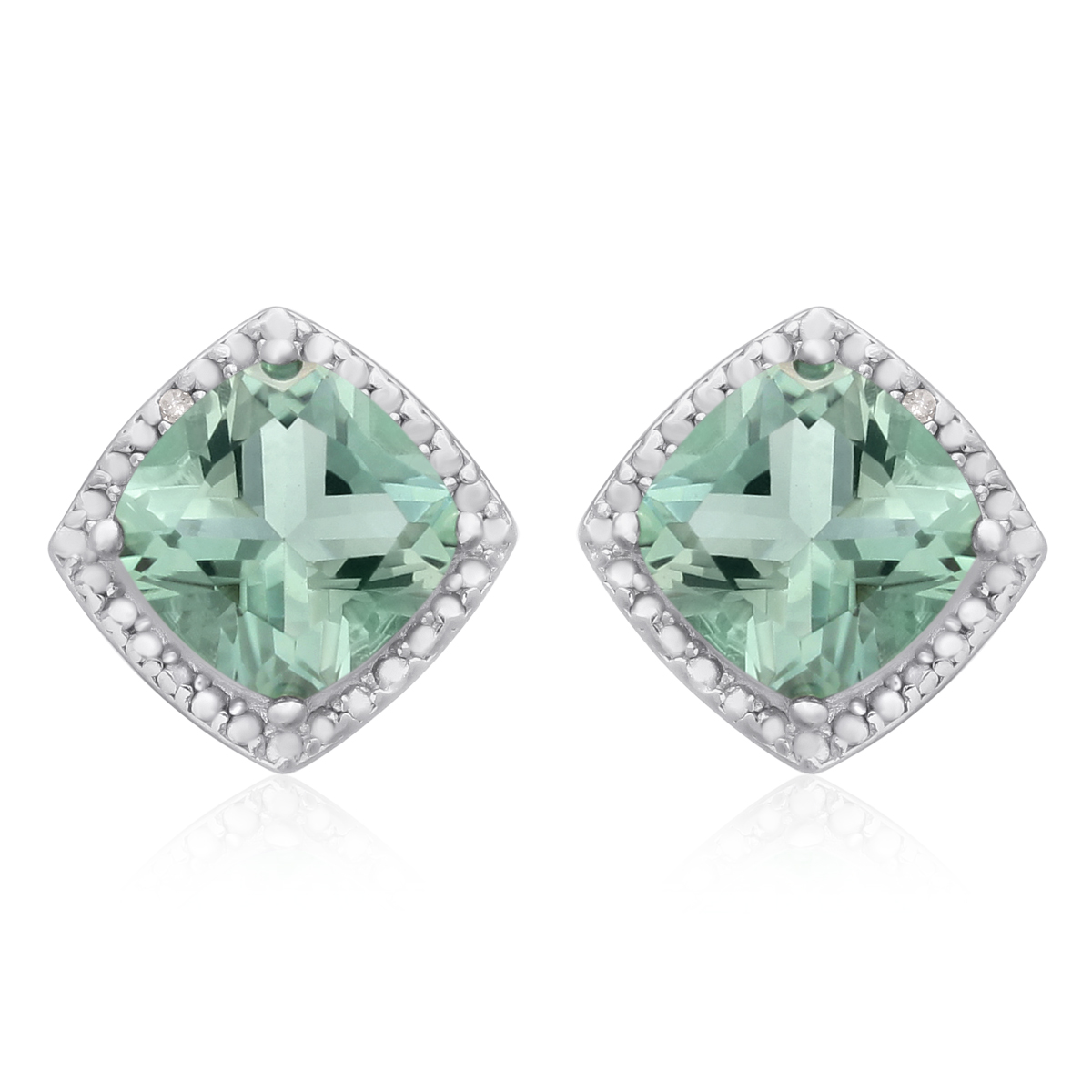 3 3 4 Ct Green Amethyst and Diamond Earrings