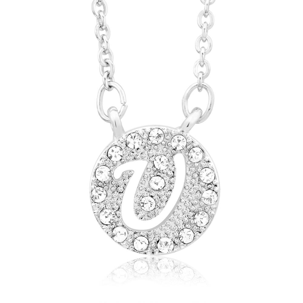 18kt White Gold Plated Swarovski Elements Initial Necklace - U