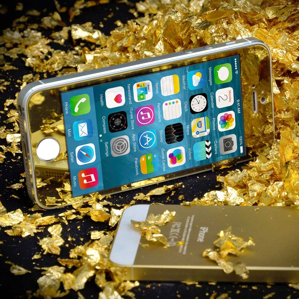 iPhone 5 5s 5c Gold Tempered Glass d3c7bc711817