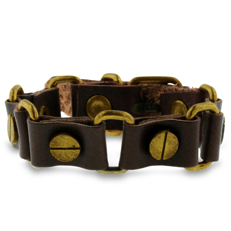 Octavius Brown Bracelet With Belt-Buckle Clasp