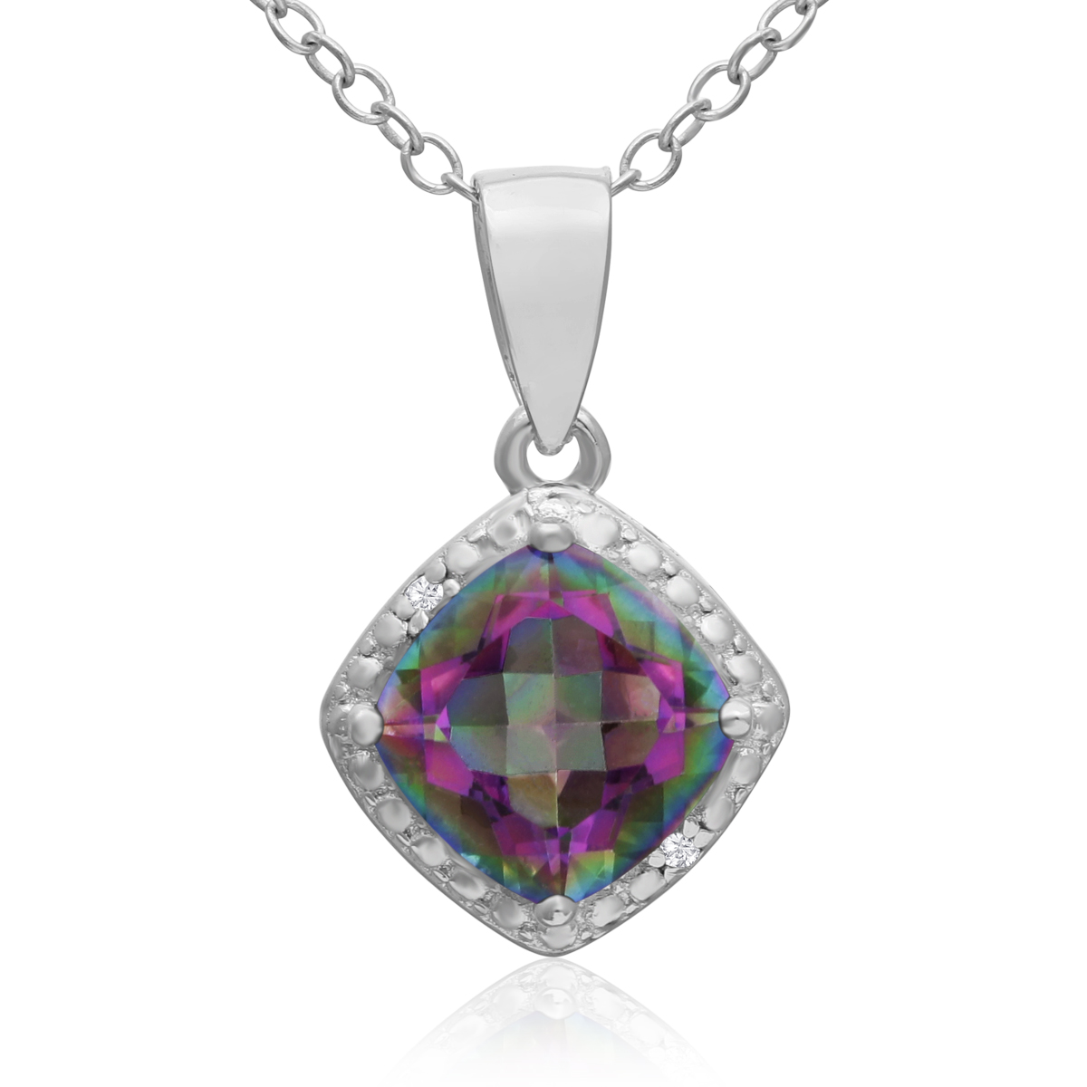 1 1 2ct Mystic Topaz and Diamond Pendant