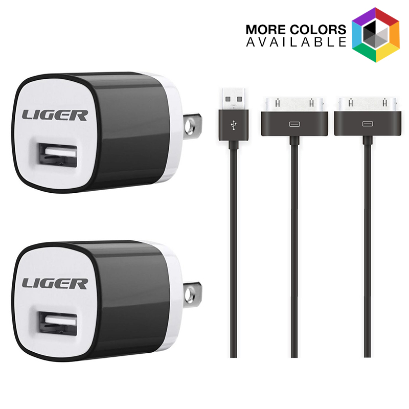 2-Pack Liger Wall Charger   2-Pack 30pin Cable Charging Kit