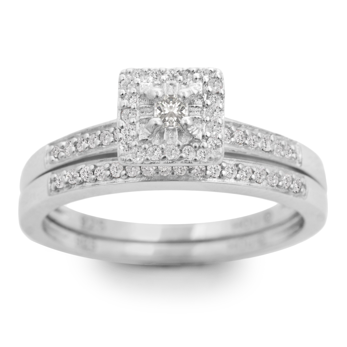 1 4ct Pave Diamond Bridal Set  Sterling Silver
