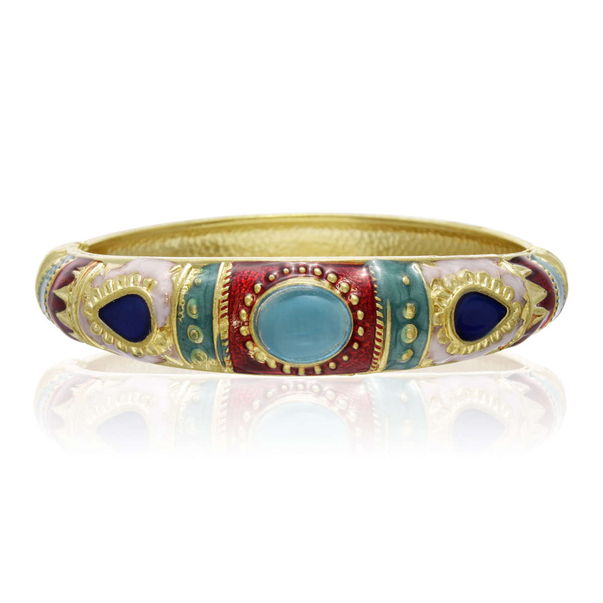Chinese Inspired Gold Plated  amp  Enamel Bracelet