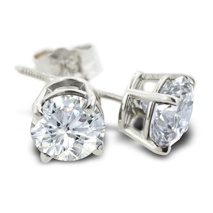Certified 1 2ct Natural Genuine Diamond Stud Earrings In 14 Karat Whit