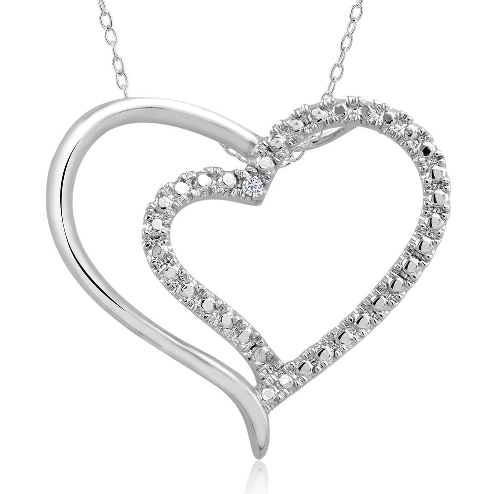 1 10 CTW Diamond Accent Platinum Hearts Necklace