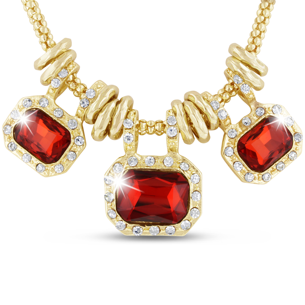 18 Karat Gold Plated Ruby Red Glass And Crystal Statement Necklace, 18