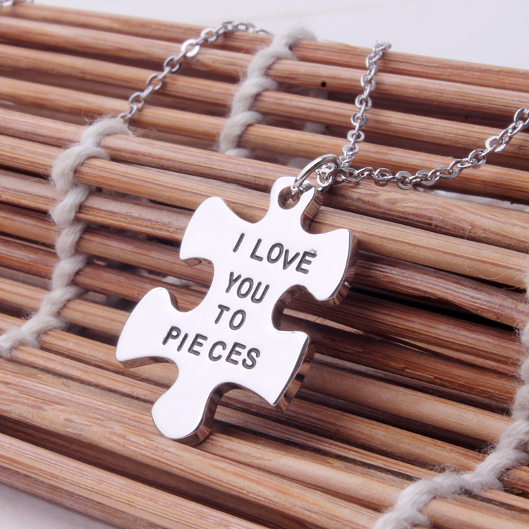 Sterling Silver  I Love You To Pieces  Necklace