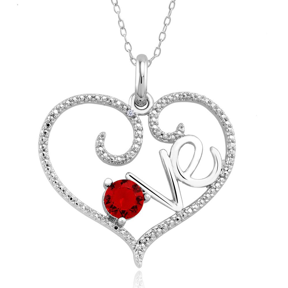 1 10 CTW Diamond Accent Necklace - Garnet Love