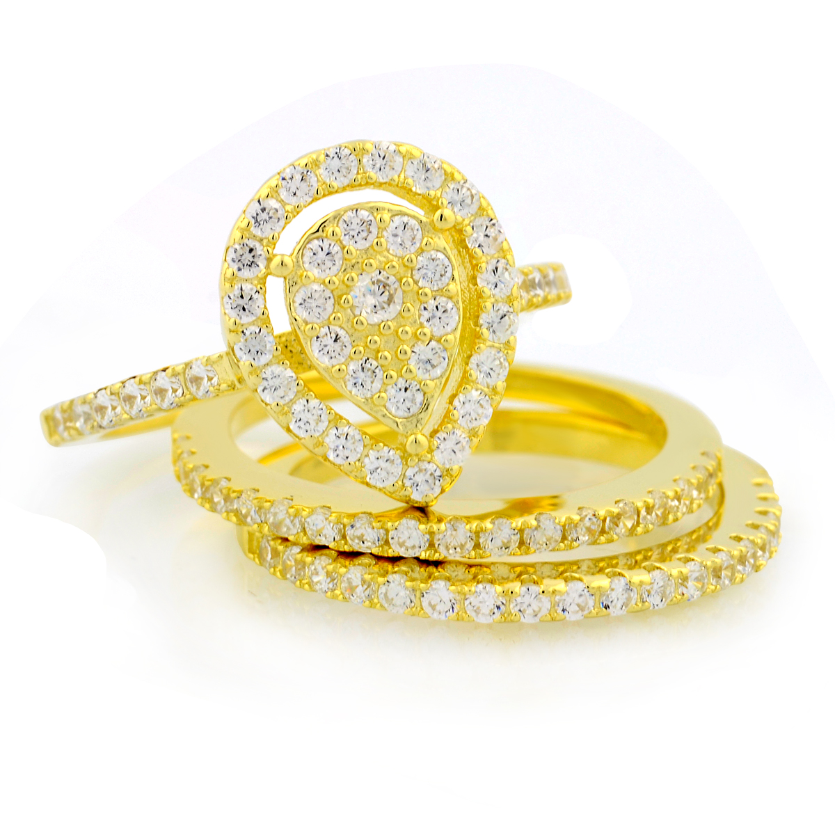 3pc Gold Plated Pearshape Micro Pave Ring