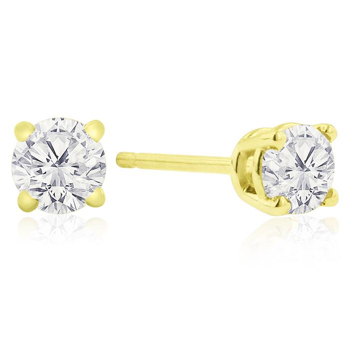 Certified 1 4ct Natural Genuine Diamond Stud Earrings In 10 Karat Yell
