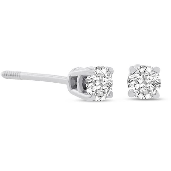 Certified 1 4ct Natural Genuine Diamond Stud Earrings In 14 Karat Whit