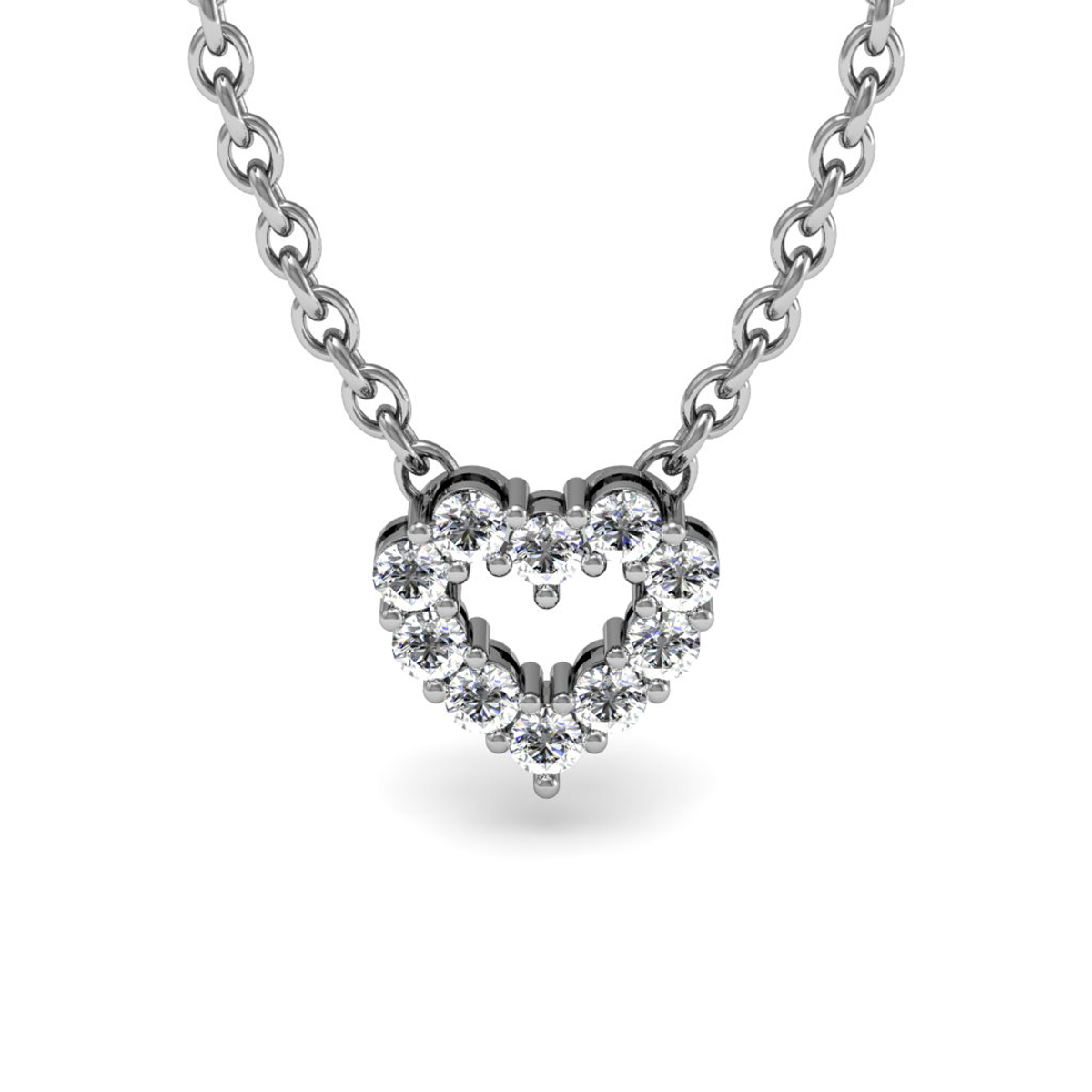 1 3 Carat Diamond Heart Necklace in Sterling Silver