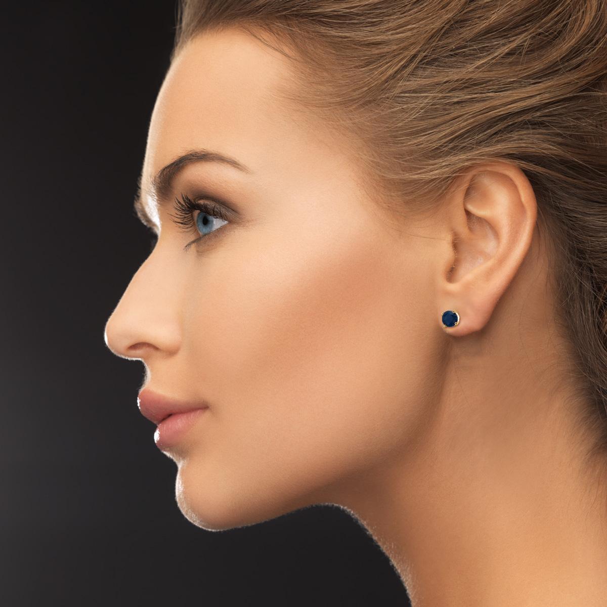 1 2 Carat Sapphire Stud Earrings in 14k Yellow Gold