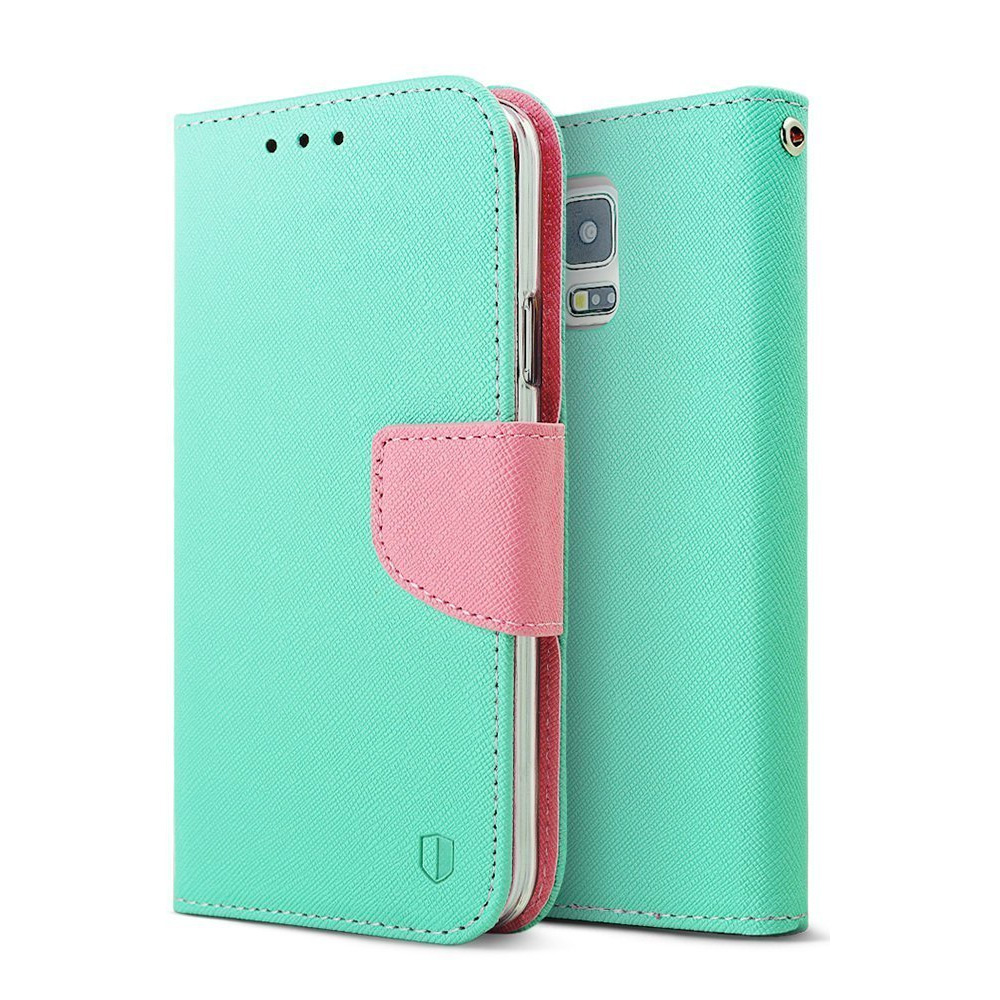 Mint Baby Pink RED SHIELD Faux Leather Diary Flip Case w  ID Slots Wri