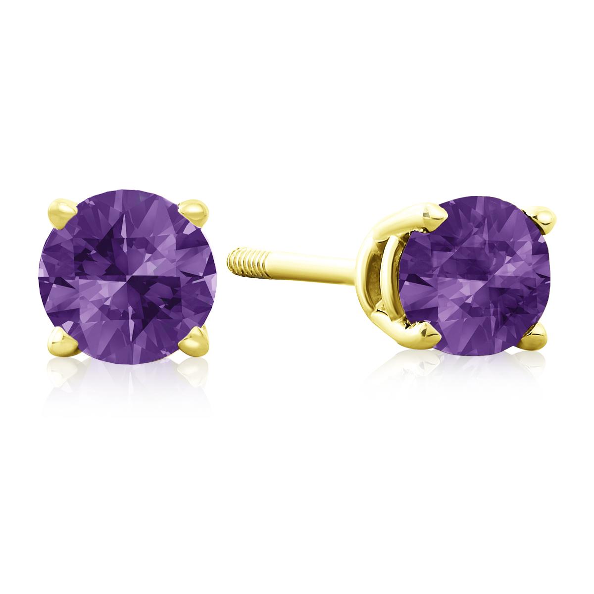 1 2 Carat Amethyst Stud Earrings in 14k Yellow Gold