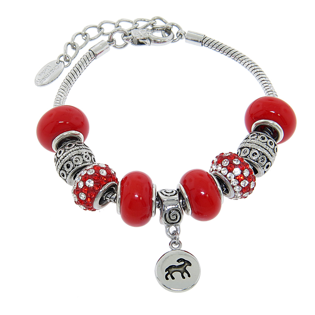 Zodiac Charm Bracelet: Italian Murano Glass Zodiac Charm Bracelets